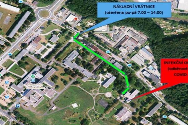 COVID-19 - trasa k odběrovému místu v havířovské nemocnici