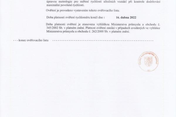 Ověřovací list pro ul. Dělnická (str.2)