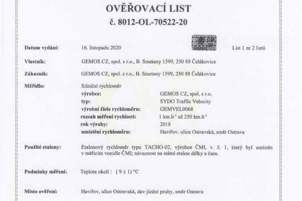 Ověřovací list pro ul. Ostravská (str.1)