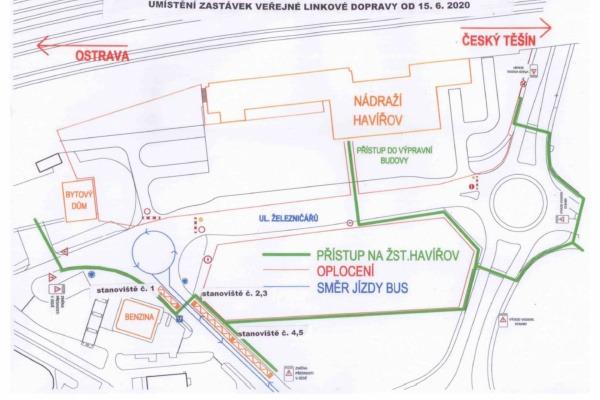 Situace - umístění zastávek autobusových stanovišť od 15. 6. 2020