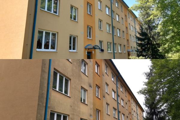 Na fotografii vidíte dům před a po vyčištění fasády