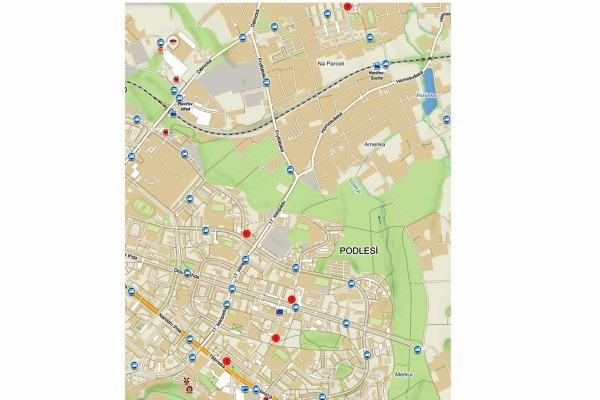 umístění jednotlivých kamerových bodů ve správě Komisariátu č. 2